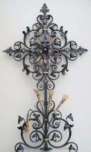 Grabkreuz A1 mit Kohrnähren blattvergoldet 150 X 80