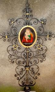 Kreuz Frankreich mit Gnadenbild Mariahilf blattvergoldet