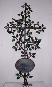 Grabkreuz Lebensbaum mit geschmiedeten Amseln