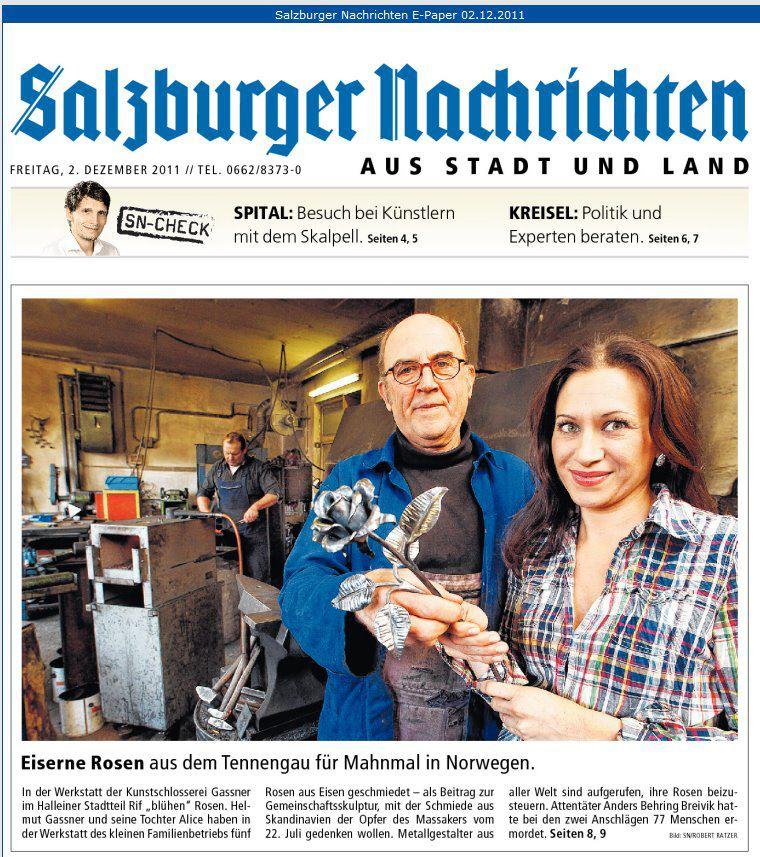 Artikel über Kunstschlosserei Gassner, Salzburger Nachrichten