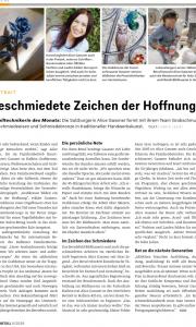 """Artikel über die Metallerin des Monats, Alice Gassner von der Kunstschlosserei Gassner, Zeitschrift """"Metall"""""""
