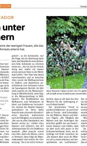 Artikel über Alice Gassner von der Kunstschlosserei Gassner, Tennengauer Nachrichten vom 4. Juni 2020